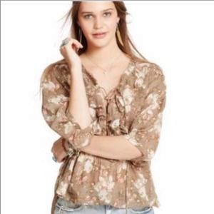 Denim & supply floral lace up ruffle blouse